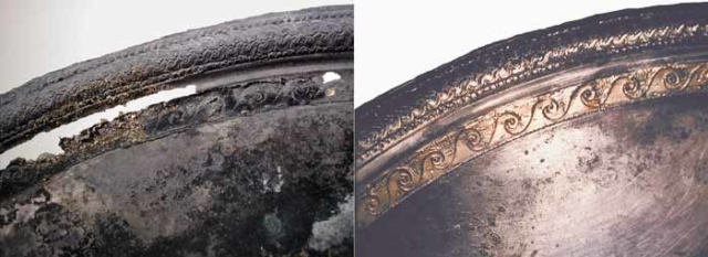 Silver bowl, before & after
